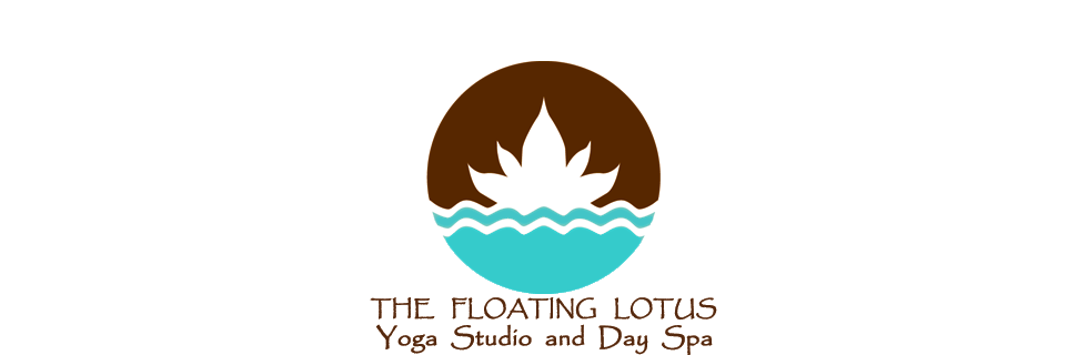 The Floating Lotus Yoga Studio and Day Spa teal-and-brown lotus logo